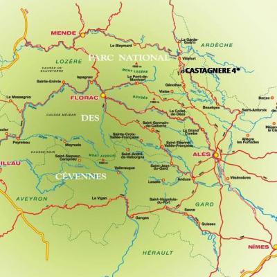 Carte situation gite Castagnere en Cevennes